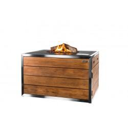 Cocoon Table Rechthoek Zwart, RVS/Teak Lounge & Dining + Gratis Gasdrukregelaar